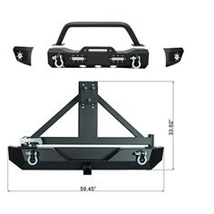 Www  E-Autogrilles 97-06 Jeep Wrangler TJ MOD Modular Off Road Front Bumper with LED Light and Rear Bumper with Tire Carrier Combo (51-0049+51-0015)