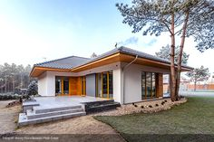 Bungalow House Plans, New House Plans, Indoor Sauna, Modern Style Homes, Backyard Patio Designs, Story House, Facade House, Modern Architecture, Home Fashion