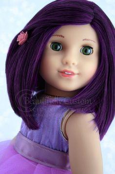 Dark Plum Purple Black Mix Joy Doll Wig for Custom American Girl Dolls like Mal from Descendants (size 10-11 wig cap): Beautifully Custom Exclusive