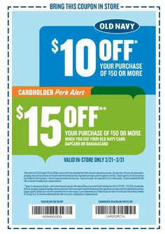 $10 off $50 at Old Navy coupon via The Coupons App