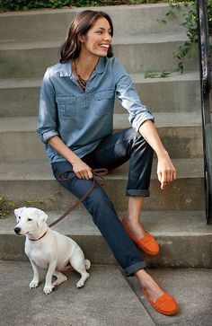 Double denim/ Love those loafers<3