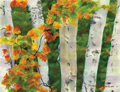 Birches 1 Autumn Showers oil pastel by PortraitsOfAnimals on Etsy Autumn Display, Pastel, Yellow Leaves, Watercolor Portraits, Cover Art, Giclee Print, Poems, Wildlife, Sketches