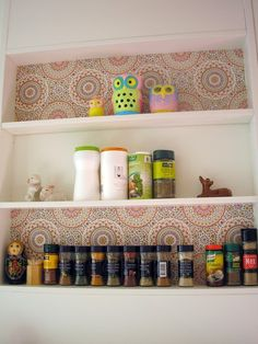 Pink Friday - Built in bookshelf, spice wall and cute wallpaper on bookshelf + adorable owls.