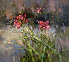 Red Daylily Alexi Zaitsev more works by this artist Acrylic Flowers, Oil Painting Flowers, Abstract Flowers, Painting & Drawing, Watercolor Paintings, Art Floral, Flower Oil, Still Life Art, Russian Art