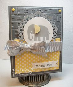 #SU Love this color combo: Basic Gray, Smoky Slate, Daffodil Delight; along with the Alphabet Press EF and Chevron Ribbon.  This link to Vicki's blog post has all the details.