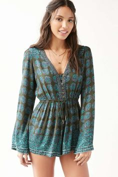Ecote Helena Turquoise Floral Button-Down Playsuit
