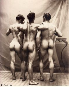 My fourth posting from a renowned set of nude studies, this trio of powerfully built men were photographed in around 1900 and have found an astonishing but quite quite well-deserved fame over a century later. More male art at www.theartofman.net and www.VitruvianLens.com