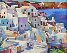Holiday In Santorini‎. Island of Greece. Sun and whiteness all around.   Oil on canvas.  This is a unique, one of a kind original oil painting. The painting is sold framed. It is signed on the ...