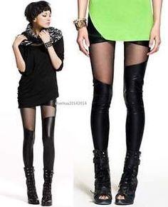 Women s Imitation Leather Mesh Spliced Leggings Pants 0S40 | eBay