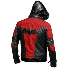 Batman Arkham Knight Movie Halloween Hooded Gaming Costume Leather Jacket Mens - XS / Black & Red / Real Leather