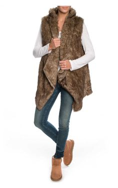 Väst Faux Fur BROWN - FAV - Designers - Raglady