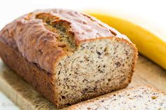Moist and delicious banana bread recipe. Easy to make, no need for a mixer! Ripe bananas, butter, sugar, egg, vanilla, baking soda, and flour.
