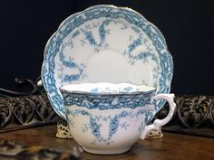 Myotts England Embossed Teacup and Saucer, Blue and White Floral China Tea Cup -K
