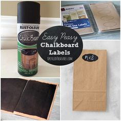 Easy Peasy DIY Chalkboard Labels - How to create your own Chalkboard Labels using chalkboard paint and plain labels or stickers. UpcycledTreasures.com