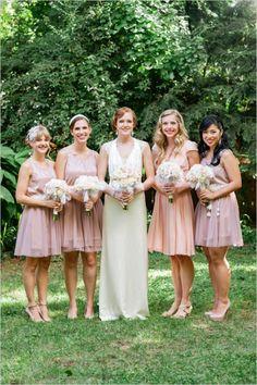 blush bridesmaid dresses #artdecowedding #DIYwedding #blushbridesmaids  http://www.weddingchicks.com/2014/01/13/diy-dapper-deco-wedding/