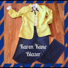 So Chic!!! Neon Yellowish/Green Sharp Blazer
