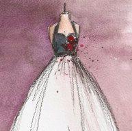 Print - Watercolor and Charcoal - Vintage Dress Painting - Vintage Rosie Dress - 8x10 - Lauren Maurer Artworks on Etsy