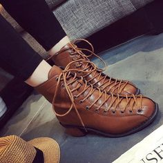 Lace Up Combat Military Ankle Boots - US$35.69