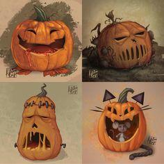 My 4 completed jack-o-lanterns for the #paintablepumpkin challenge. :) 1. Sugar Addiction 2. The Deathly Hollow 3. Frankenpumpkin 4. Cat and Mouse Pumpkin Carving, Lanterns, Addiction, Challenges, Sugar, Cat, Halloween, Digital, Cat Breeds