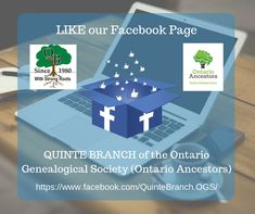 LIKE our Quinte Branch Facebook Page #QuinteOGS #genealogy #familyhistory Family History, Research, Genealogy, Ontario, The Unit, Facebook, Search, Exploring