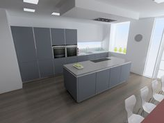 Mouse grey matt lacquer kitchen design by LWK Kitchens