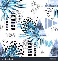 Tropical seamless pattern with watercolor leaves and textured triangles. Abstract background. Triangle with grunge textures. Geometric and Hand drawn exotic illustration. Blue palm tree