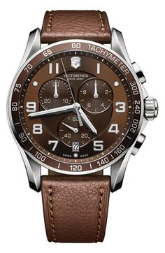 Free shipping and returns on Victorinox Swiss Army® 'Chrono Classic XLS' Leather Strap Watch, 45mm An engraved tachymeter bezel encircles a three-eye chronograph dial overlaid with anti-reflective sapphire crystal. A topstitched leather strap is the perfect finish.