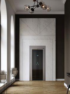 Stone & Elevators: The Next Trend! - CDK Stone Entrance Design, Facade Design, Elevator Lobby Design, Wall Cladding Designs, Marble Interior, Lift Design, Stone Cladding, Interior Architecture, Wall Panelling