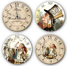 Alice In Wonderland - Altered Faux Clock, Watch II - Round - Bottle Cap Sampler - Digital Collage Sheet - NEW Cd Art, Book Art, Decoupage, Steampunk Clock, Pintura Country, Diy Clock, Were All Mad Here, Alice In Wonderland Party, Mad Hatter Tea