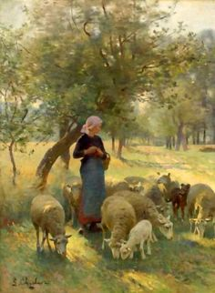 The Gentle Shepherdess - Luigi Chialiva ~ I wish this were a clearer picture. She looks like a practical woman who enjoys the quiet times with her sheep. Sheep Paintings, Paintings I Love, Beautiful Paintings, Art And Illustration, Sheep Art, Luigi, Painting & Drawing, Amazing Art, Vintage Art