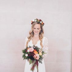 Flower crowns are a brilliant accessory on a bride's wedding day. They are vintage and modern at the same time. They instantly make your outfit chic and special. Plus you can perfectly coordinate them to match your bouquet like Andrea did in this photo!