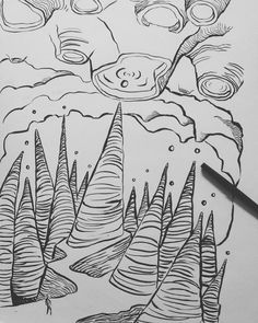 SMH @ gravity  #surrealism #surrealart #brushpen #penandink #penandpaper #surreallandscape #imagination #imagine #laurakranz #weirdart #stalagmites #stalactites #drawings #gravity