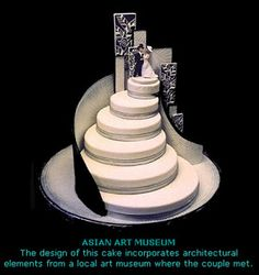 Design of this cake incorporates architectural elements from a local art museum where the couple met.