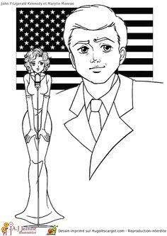 La belle Marylin Monroe accompagnée du président JF Kennedy,  à colorier