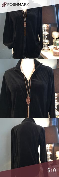 Liz Claiborne velour zipper up Good condition. No flaws noted. 17 inch bust armpit to armpit 24 inches long. Zipper up. Price firm Liz Claiborne Tops