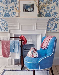 For true pampering, place a terry cloth-covered armchair by a fireplace to warm up in style after a bath.