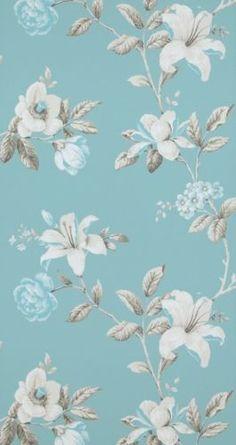 Vlies-Tapete-Florales-Blumen-Muster-blau-tuerkis-creme-braun-summer-breeze-17882