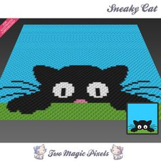 Sneaky Cat crochet blanket pattern knitting by TwoMagicPixels