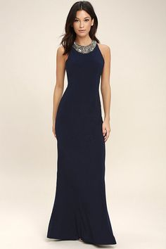 Lulus Exclusive! The promise of love is forever true with the Pledging My Love Navy Blue Beaded Maxi Dress! Shiny silver beads bedeck the rounded neckline of this stunning stretch knit maxi dress with a princess-seamed, sleeveless bodice, and a figure-flaunting fit. Hidden back zipper.