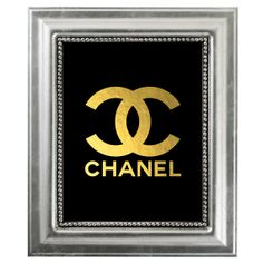 CHANEL Gold Monogram Logo Art Print - Coco Chanel Gold Foil inspire - Black and Gold Decor - Home Decor Art Prints - Typography on Etsy, $12.00