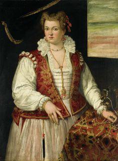 Portret van een vrouw met een eekhoorntje, toegeschreven aan Francesco Montemezzano, 1565 - 1575