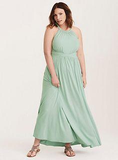 High Neck Jersey Maxi Dress, GRAY MIST