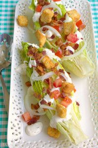 "Ranch BLT Wedge Salad, romaine topped it with crisp bacon, tomatoes, pickled onions, garlicky croutons and the BEST ""homemade"" ranch dressing!"