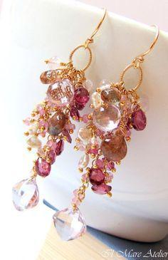 Pink Amethyst earrings Garnet Keishi Pearl by IlmareAtelier, $115.00