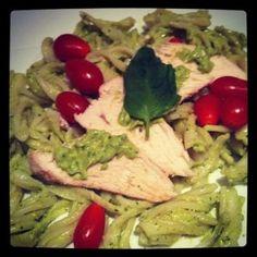 avocado pesto  Use with spaghetti squash, quinoa pasta, or just mix in with some quinoa! So clean and tasty!