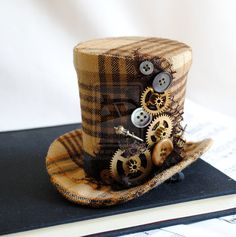 Steampunk Mini Top Hat with Gears and Buttons by RagDolliesMadhouse.deviantart.com on @deviantART