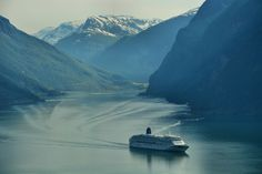 MV Aurora leaves Flåm in the distance Art Prints For Sale, Fine Art Prints, Cruise Ships, Aurora, Norway, Distance, Travel Photography, Leaves, In This Moment