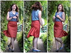 """...the defining feature of this skirt for me is the ""tailfeather flounce"" in the back... I was afraid it might be a bit fiddly with the curved section seam and the bias flounce stretching out of shape, but the staystitching plus a line of vilene bias tape did the trick and mine came together on my first attempt.""  Beautiful work from Melissa Fehrtrade!  With a super special secret travel pocket!!"