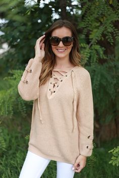Chloe Beige Multi-Tie Sweater | Foi Clothing Boutique | Must Have | Comfy and Cozy | Great Transition Piece | Lace Up Sweater | Amazing Color | Everyday Wear | Wear Everyday | Buy Now on Foiclothing.com | Trendy Basic | Must Have | OOTD | WIWT | Blogger Style |