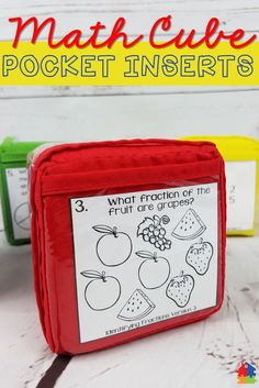 Math Cube: Pocket Inserts are a super fun and active way to get students engaged in learning! One major bonus is that you will be able to free up instructional time so you can meet with your small groups. Meanwhile, your students will be working in a productive and meaningful way during center time. Can be used as a whole group activity as well. Click to see all the many options! Simplifying Fractions, Fractions Worksheets, Fun Worksheets, Dividing Fractions, Multiplying Fractions, Equivalent Fractions, Comparing Fractions, Educational Math Games, Fraction Activities